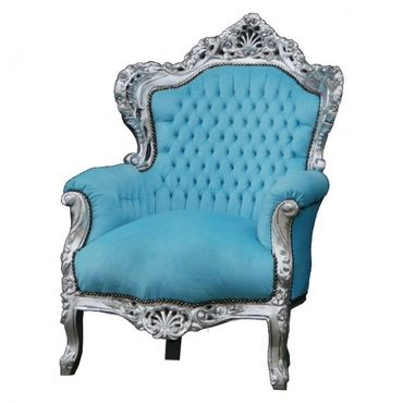 Bright Blue Velvet Silver Wood Frame Living Room Armchair Baroque Bedroom Design – image 2