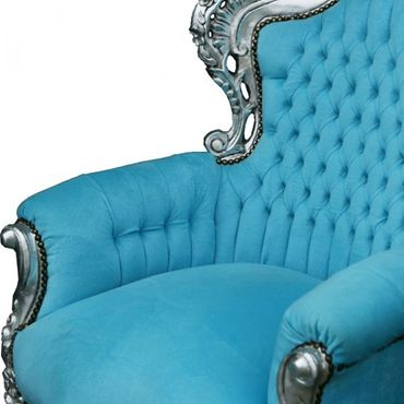 Bright Blue Velvet Silver Wood Frame Living Room Armchair Baroque Bedroom Design – image 4