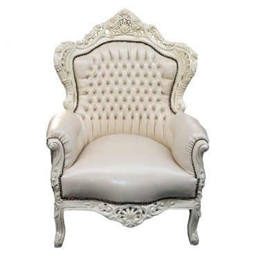 All Beige Majestic Throne Armchair Baroque Living Room Furniture