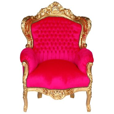 Dazzling Pink Armchair Baroque Throne Design Living Room Bedroom – image 1