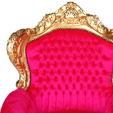 Dazzling Pink Armchair Baroque Throne Design Living Room Bedroom – image 5