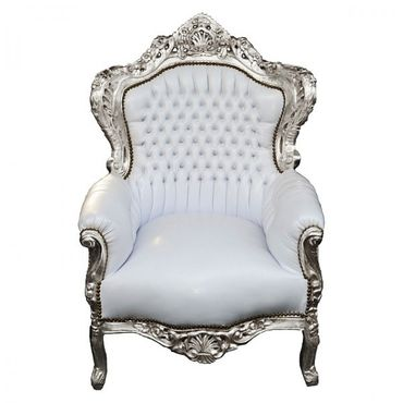 Snow White Royal Armchair Baroque Throne Furniture Living Room Bedroom – image 1