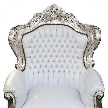 Snow White Royal Armchair Baroque Throne Furniture Living Room Bedroom – image 4