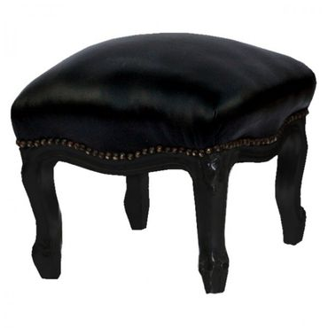 Classy Footstool Black Leatherette and Carved Wood Legs – image 1