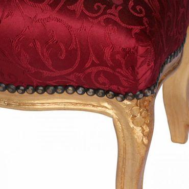 Charming Footstool Red Floral Pattern Baroque Living Room Furniture Gold Frame – image 4