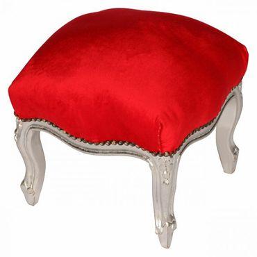 Hand Carved Silver Wood Footstool Red Velvet Cushion Baroque Design – image 3