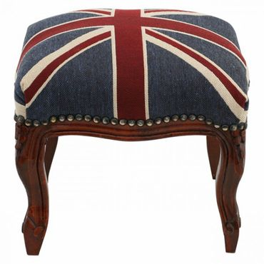 UK Union Jack Footstool with Brown Real Wood Frame Baroque Living Room Furniture – image 1