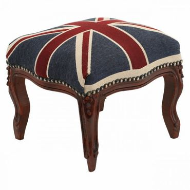 UK Union Jack Footstool with Brown Real Wood Frame Baroque Living Room Furniture – image 2