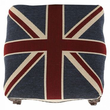 UK Union Jack Footstool with Brown Real Wood Frame Baroque Living Room Furniture – image 4