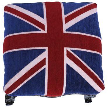 UK Flag Velvet Black Wood Frame Footstool Baroque Living Room – image 3