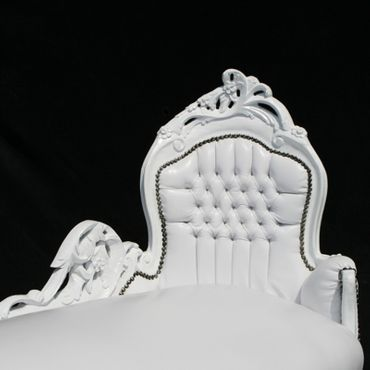 Smooth White Leatherette White Wood Chaise-Longue Living Room Furniture – image 2