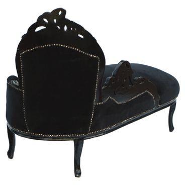 Classy Black Velvet Chaise-Longue Baroque Black Hand Carved Wood Frame  – image 2