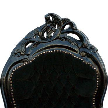 Classy Black Velvet Chaise-Longue Baroque Black Hand Carved Wood Frame  – image 3