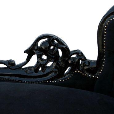 Classy Black Velvet Chaise-Longue Baroque Black Hand Carved Wood Frame  – image 4