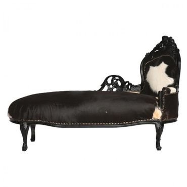 Cowhide Chaise-Longue Baroque Hand Carved Black Wood Frame  – image 1