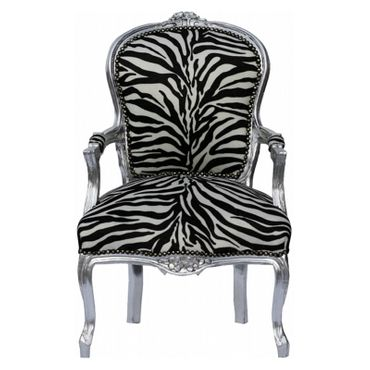 French dining chairs Antique black white Safari print – image 1