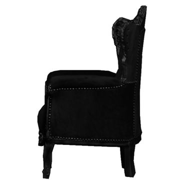 Baroque Throne Armchair Child size Black wood Frame with Black Velvet Cushions – image 3