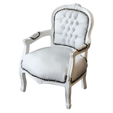 Child Size Armchair White Leatherette White Wood Frame – image 2