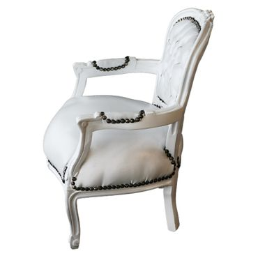 Child Size Armchair White Leatherette White Wood Frame – image 3
