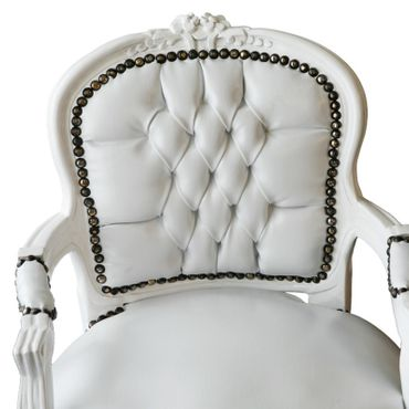 Child Size Armchair White Leatherette White Wood Frame – image 5