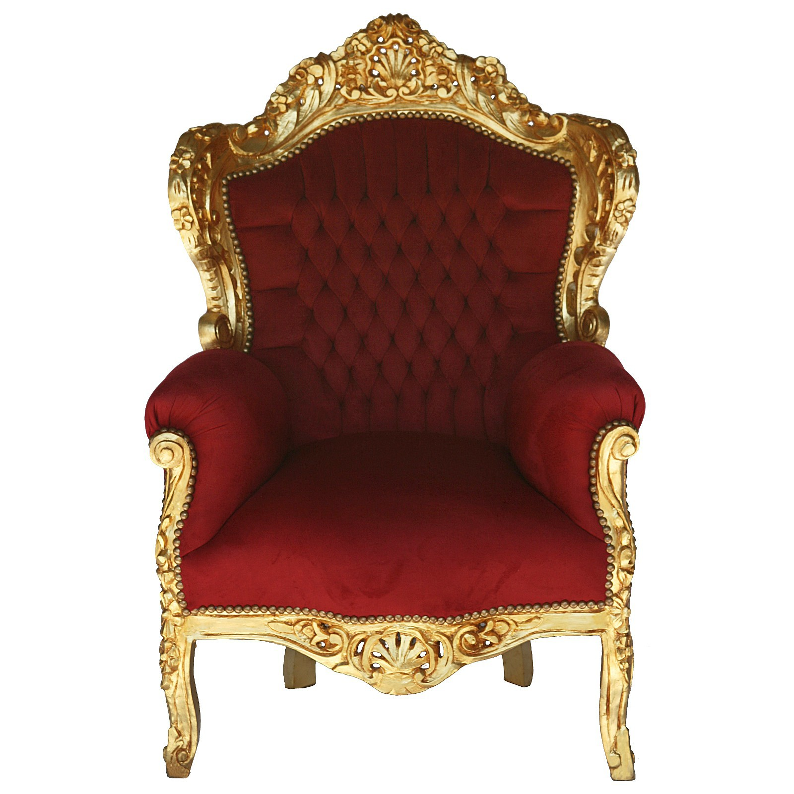 Deep Red Velvet Gold Solid Wood Frame Baroque Style Living Room ...