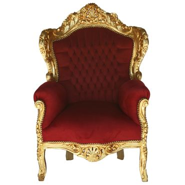 Deep Red Velvet Gold Solid Wood Frame Baroque Style Living Room Bedroom Chair – image 1