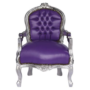 Purple Leatherette Silver Wood Frame Children Armchair – image 1