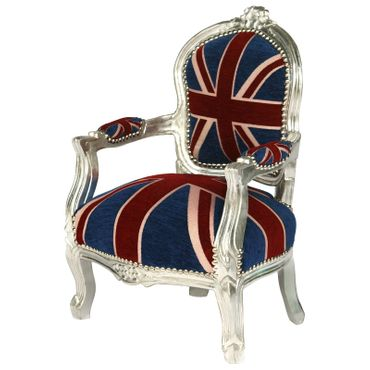 UK Flag Baroque Child Armchair Silver Hand Crafted Wood Frame – image 2