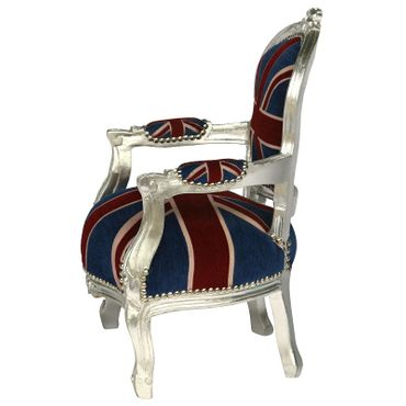UK Flag Baroque Child Armchair Silver Hand Crafted Wood Frame – image 3