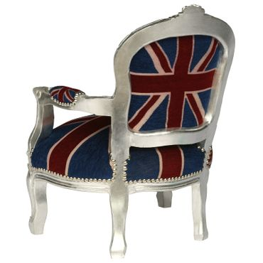 UK Flag Baroque Child Armchair Silver Hand Crafted Wood Frame – image 4