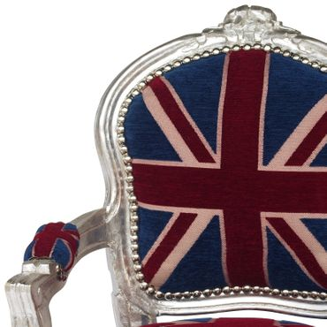 UK Flag Baroque Child Armchair Silver Hand Crafted Wood Frame – image 5