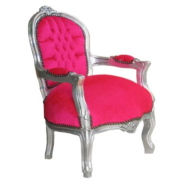 Hot Pink Velvet Children Armchair Baroque Bedroom Playroom Furniture – image 2