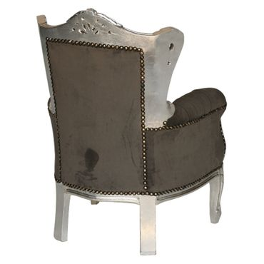 Beautiful Grey Velvet Armchair Baroque Hand Carved Silver Wooden Frame – image 3