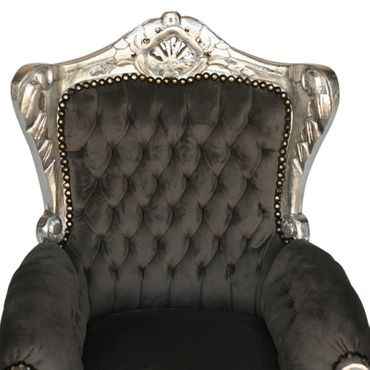 Beautiful Grey Velvet Armchair Baroque Hand Carved Silver Wooden Frame – image 5