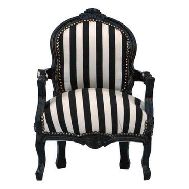 Fashionable Striped Black & White Kid Sized Armchair – image 1