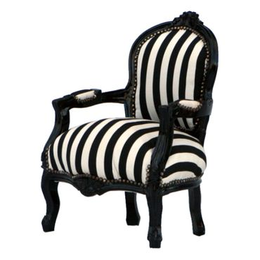 Fashionable Striped Black & White Kid Sized Armchair – image 2