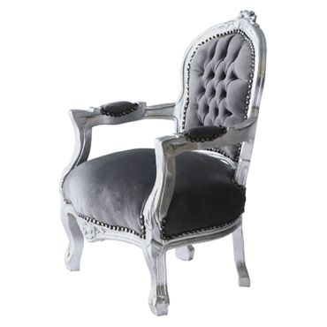 Child Salon Chair with Armrest Silver Wood Frame Grey Velvet Cushioning – image 3