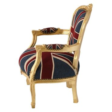 Children Armchair UK Union Jack Flag Baroque Gold Carved Wood Frame – image 3