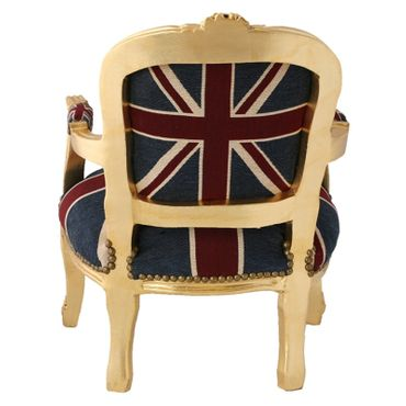Children Armchair UK Union Jack Flag Baroque Gold Carved Wood Frame – image 4