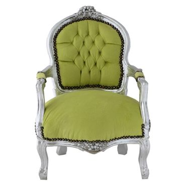Fun Chid Armchair Apple Green Velvet Silver Wood Frame – image 1