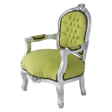 Fun Chid Armchair Apple Green Velvet Silver Wood Frame – image 2