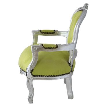 Fun Chid Armchair Apple Green Velvet Silver Wood Frame – image 3