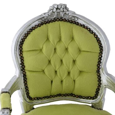 Fun Chid Armchair Apple Green Velvet Silver Wood Frame – image 5