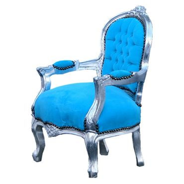 Bright Blue Armchair Child Size Silver Baroque Real Wood Frame – image 2