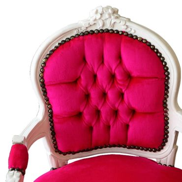 Fun Bright Pink & White Child Armchair Baroque Style Living Room Furniture – image 5