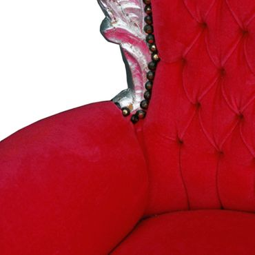 King Queen Throne for Children Red Velvet Silver Wood Frame – image 5