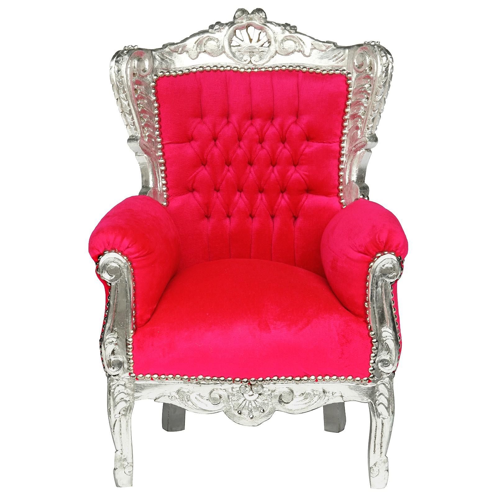Fun Kid Throne Bright Pink Silver Carved Wood Frame Baroque Furniture U2013  Bild 1