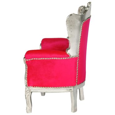 Fun Kid Throne Bright Pink Silver Carved Wood Frame Baroque Furniture – image 3