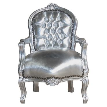 Glamorous Silver Armchair Child Size Playroom Baroque Furniture – image 1
