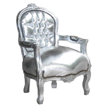 Glamorous Silver Armchair Child Size Playroom Baroque Furniture – image 2
